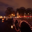 Leidsegracht-Keizer sgracht in Amsterdam the Netherlands by night — Stock Photo #11379357