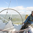 Sailing on the IJsselmeer in the Netherlands on a beautiful sunny day - Stock Photo