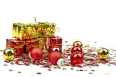 Christmas gifts and christmas balls — Stock Photo