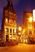 Romantic street view in Amsterdam city at night in the Netherlands — Stock Photo
