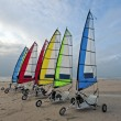 Sail carts at the north sea beach in the Netherlands — Stock Photo