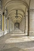 Commerce Square 18th century Arcades in Lisbon, Portugal — Stock Photo
