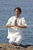 Meditation, Love and contemplation, yoga on the rocks — Stock Photo