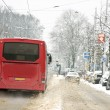 Snowplow driving in snowstorm in the Netherlands — Stock Photo
