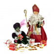 Santa Claus and black Piet with gingernuts, candies and presents at 5th december — Stock Photo