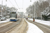 Tram driving in Amsterdam the Netherlands in winter — Stock Photo
