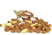 Bag full of gingernuts and candies — Stock Photo