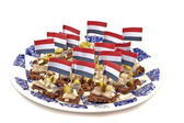 Rye bread with raw herring and onions — Stock Photo