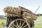 Old handcart with hay bales in the countryside — Stock Photo