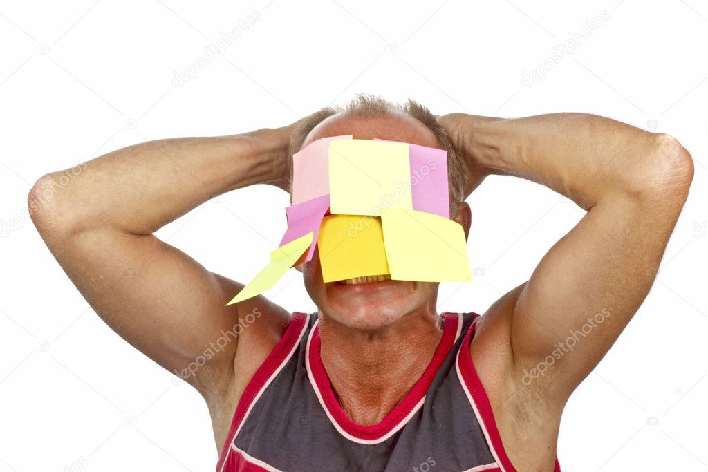 Desperate workaholic with notes on his face — Stock Photo #11492283