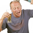 The man with the hammer comes after drinking too much beer — Stock Photo