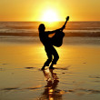 Guitar player on the beach at sunset — Stock Photo #11501285