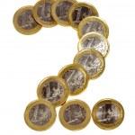 Figura 2 feito de moedas — Foto Stock