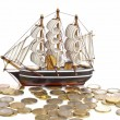 Ship with money — Stock Photo