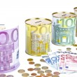 Piggy banks with euro banknotes and coins on the white background — Stok fotoğraf