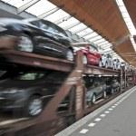 New cars transportation — Stock Photo