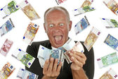 Man totally excited after winning the lotery — Stock Photo