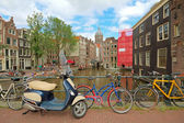 Amsterdam city and everywhere bikes in the Netherlands — Foto Stock
