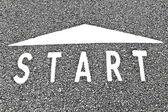 Začít znamení na cestě — Stock fotografie