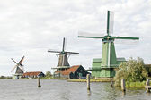 Windmills at Zaanse Schans in the Netherlands — Stok fotoğraf