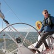 Sailing on IJsselmeer in Netherlands on beautiful sunny day — Stock Photo #11516426