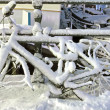 Bike covered with snow in Amsterdam the Netherlands at night — Stock Photo