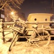 Snowy Amsterdam at night in Netherlands — Foto Stock #11516499