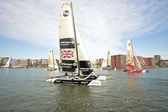 Ishares-cup world final extreme catamaran race in Amsterdam harbor — Stock Photo