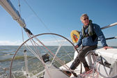 Sailing on the IJsselmeer in the Netherlands on a beautiful sunny day — Stock Photo