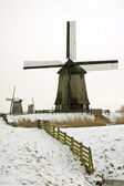 Moinho de vento tradicional no inverno na holanda — Foto Stock
