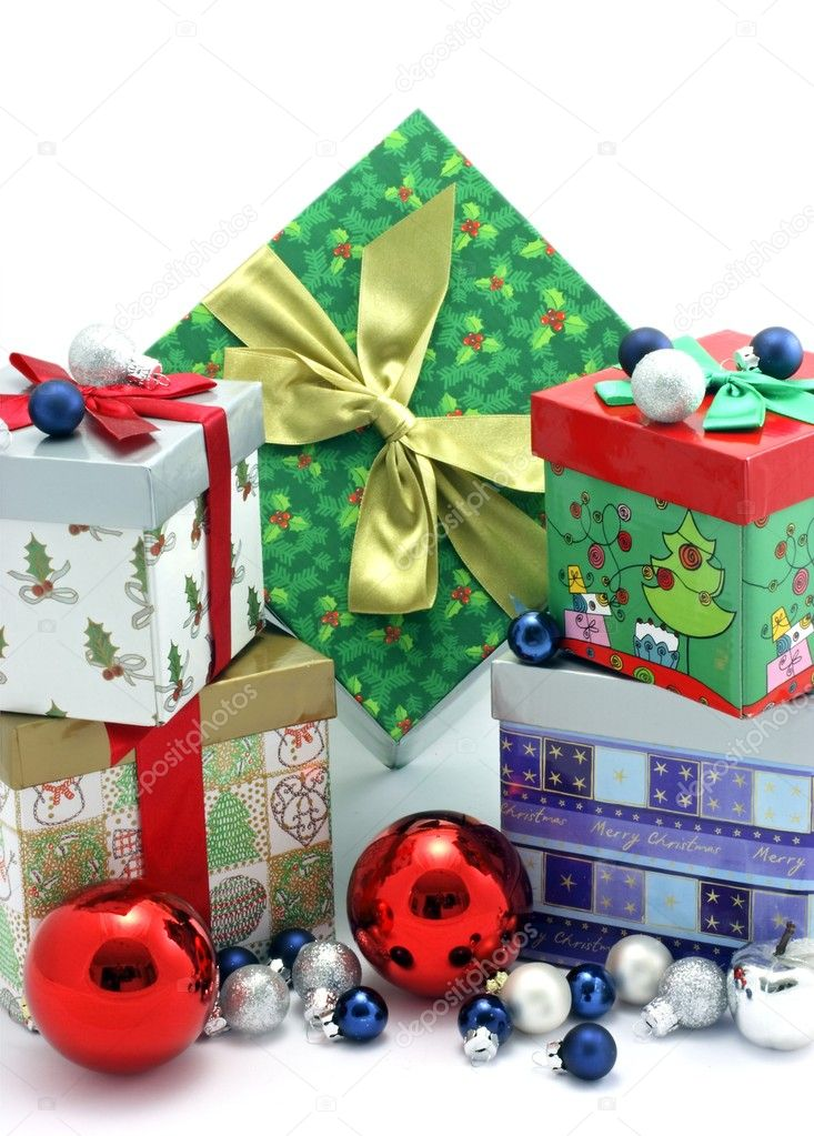 Christmas presents isolated on white — Stock Photo #11516094