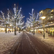 Shopping center at christmas time at night in Amsterdam the Neth — Stock Photo