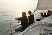 Sailing on the IJsselmeer at sunset in the Netherlands — Stock Photo