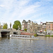 Sightseeing in Amsterdam the Netherlands on the river Amstel - Stock Photo