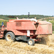 Stock Photo: Agricultural machine harvesting wheat