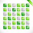 Greentones - green glossy icons — Stock Vector