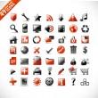 nieuwe reeks van 49 glanzend web iconen en ontwerpelementen in oranje en grijs — Stockvector