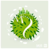 Abstract green world illustration - ecology — Stock Vector
