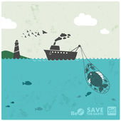 """Fishing industry background - eco balance """"don't take too much"""" — Stock Vector"""