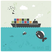 """Fishing industry background - eco balance """"don't take too much"""" — Vector de stock"""