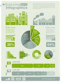 生態情報グラフィック コレクション - エネルギー産業 - チャート、シンボル、グラフィック要素 — ストックベクタ