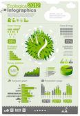 Ekoloji bilgi grafik koleksiyonu - enerji endüstrisi - grafikler, simgeler, grafik öğeleri — Stok Vektör