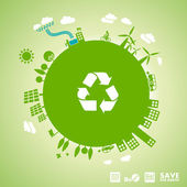 Green earth - sustainable development concept — Vector de stock