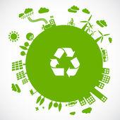 Yeşil bir dünya - sürdürülebilir kalkınma kavramı — Stok Vektör