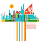 Abstract town - geometric compositon — Stock Vector