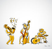 Trío de jazz — Vector de stock