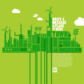 Green eco town — Stockvector