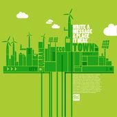 Yeşil eko şehir — Stok Vektör