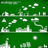 Conceito de desenvolvimento sustentável - ecologia fundos e elementos — Vetorial Stock
