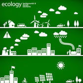 Sustainable development concept - ecology backgrounds & elements — Vector de stock
